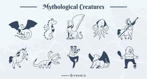 Paquete de ilustraciones de trazo simple de criatura mítica