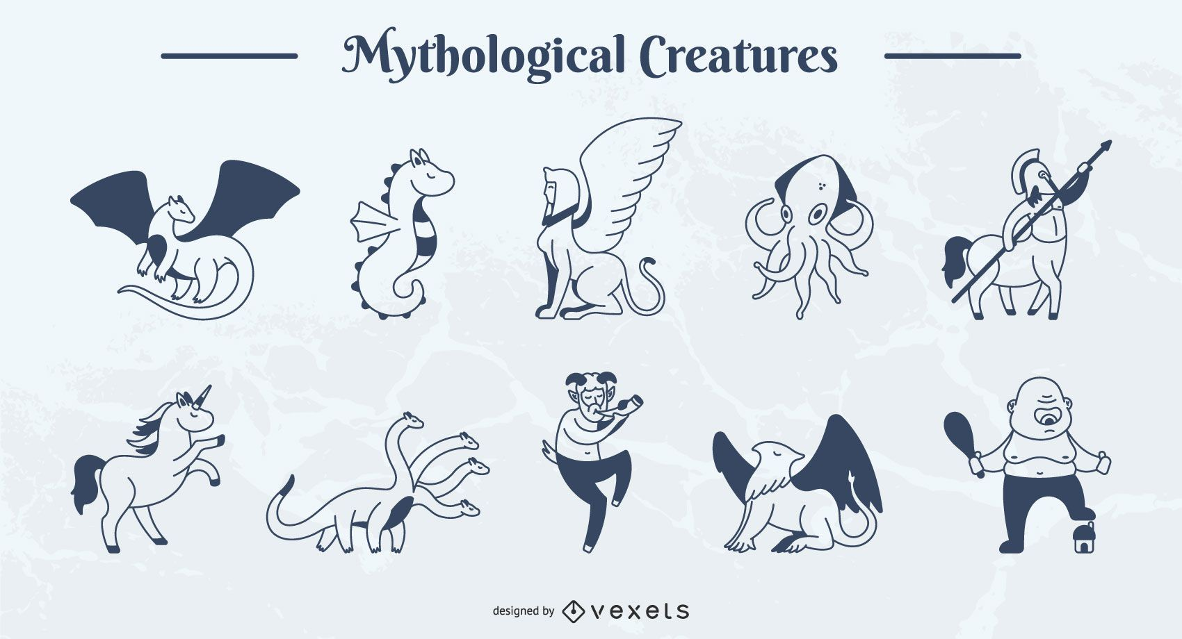 Mythical Creature Simple Stroke Illustration Pack