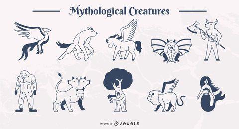 Conjunto de ilustración de trazo simple de criaturas míticas