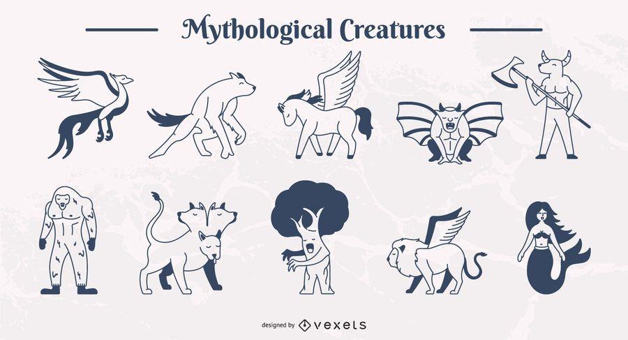 Conjunto de ilustração de traço simples de criaturas míticas