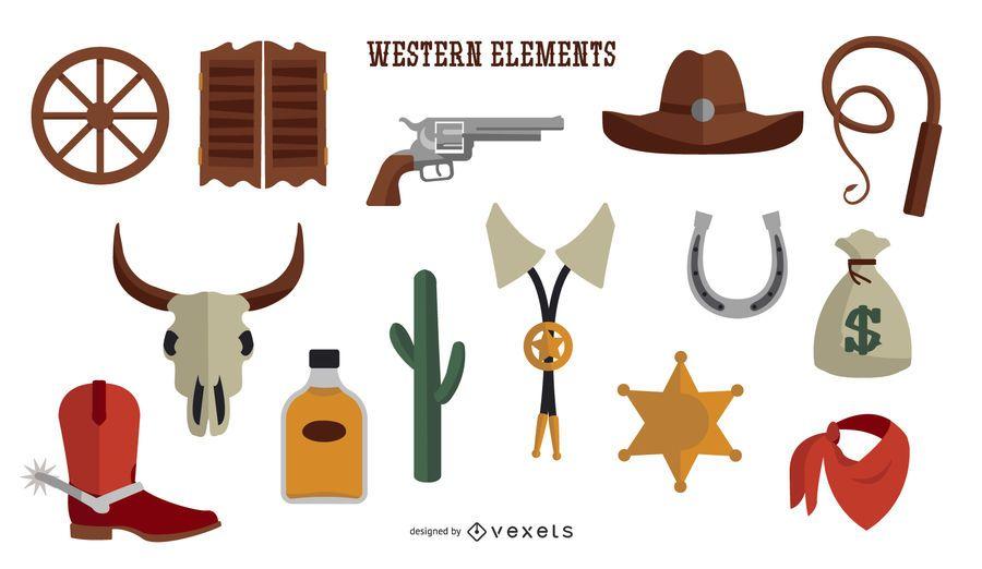 Colección de elementos occidentales de diseño plano