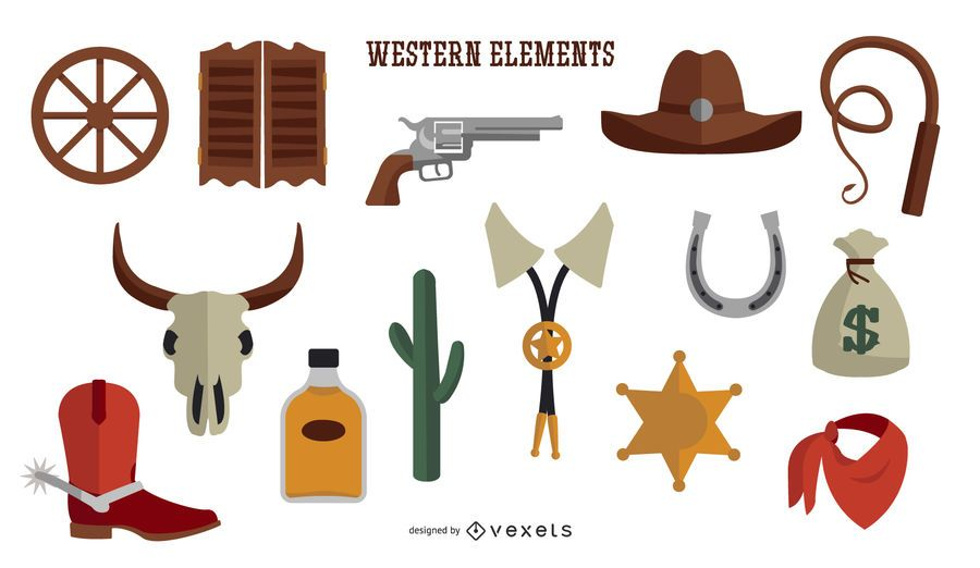 Flat Design Western Elements Collection