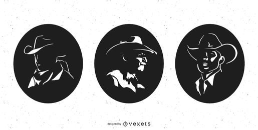 Cowboy Profile Silhouette Pack