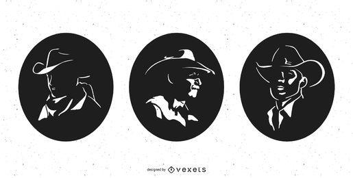 Pacote de silhueta de perfil de cowboy