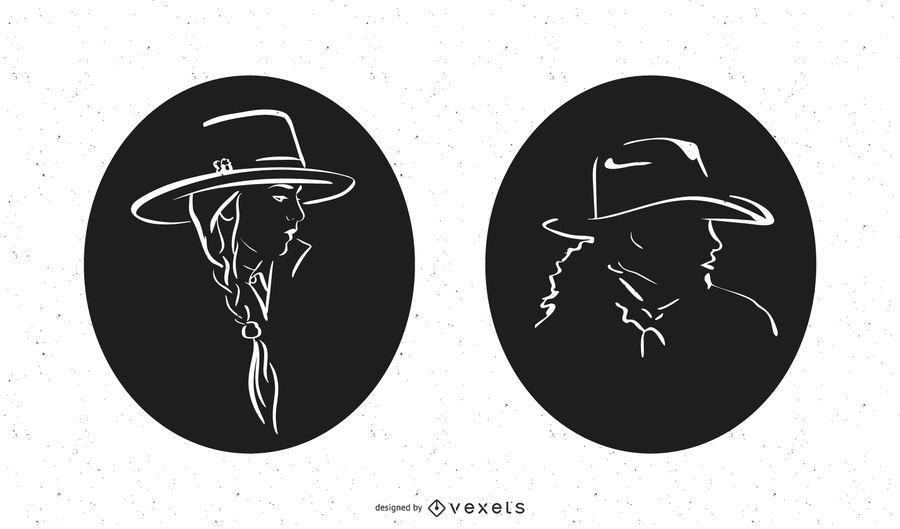 Cowgirl Profile Silhouette Set