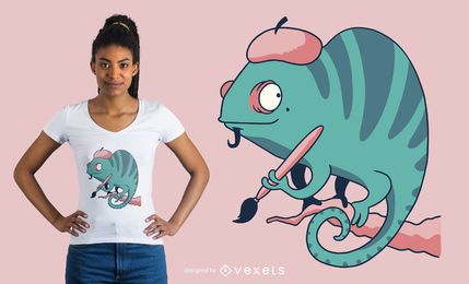 Diseño de camiseta de camaleón pintor.