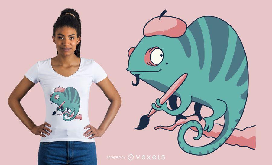 Painter chameleon t-shirt design