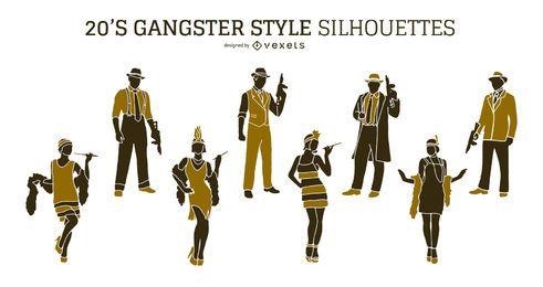 Conjunto de silueta de gángster de los 20