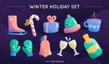 Conjunto de vetores de férias de inverno