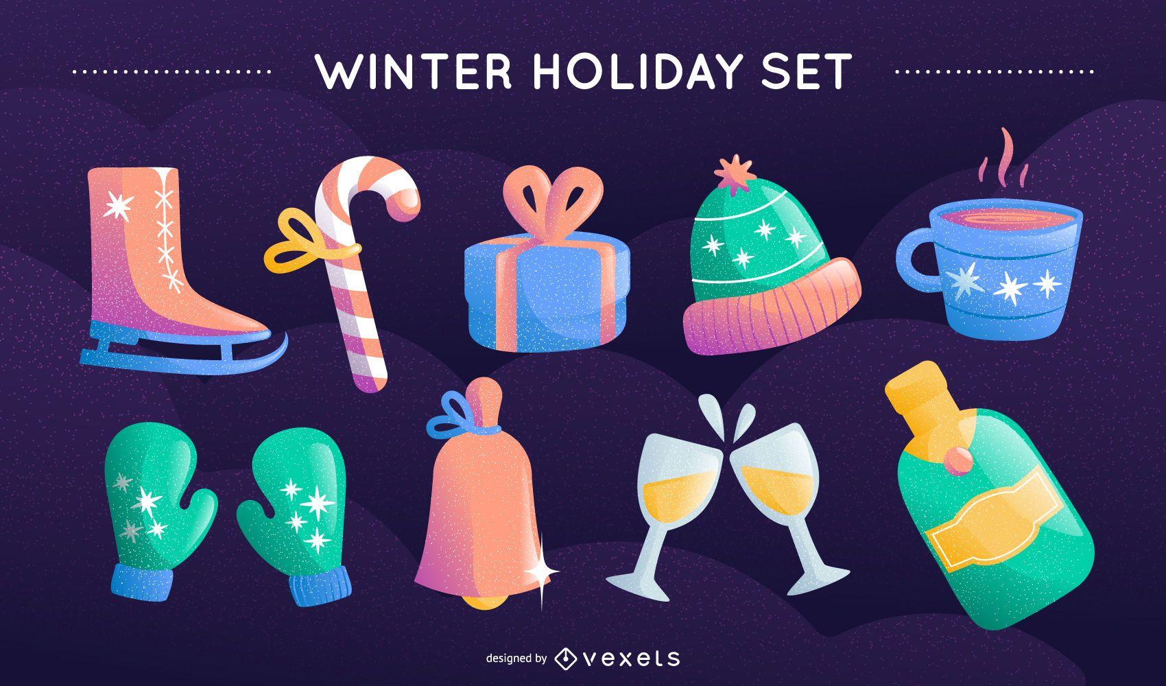 Winter holiday vector set