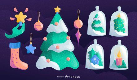 Conjunto de vectores de elementos de Navidad