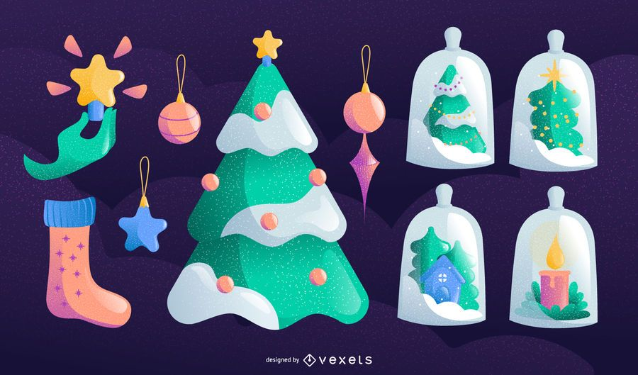 Christmas elements vector set