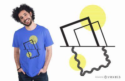 Diseño de camiseta de cuadros abstractos