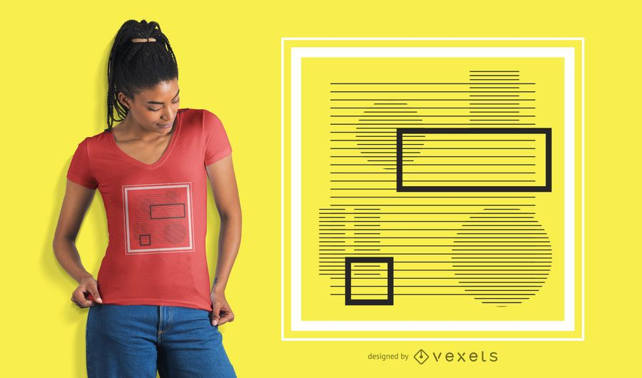 Abstract square stripes t-shirt design