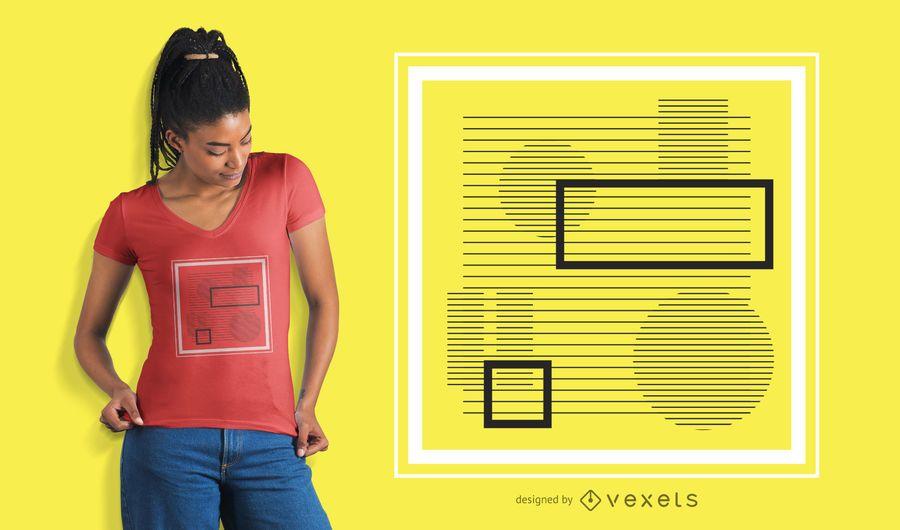 Abstraktes quadratisches Streifent-shirt Design