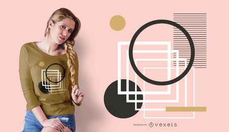 Diseño de camiseta de círculos y cuadrados.