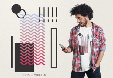 Diseño de camiseta geométrica de ondas abstractas.
