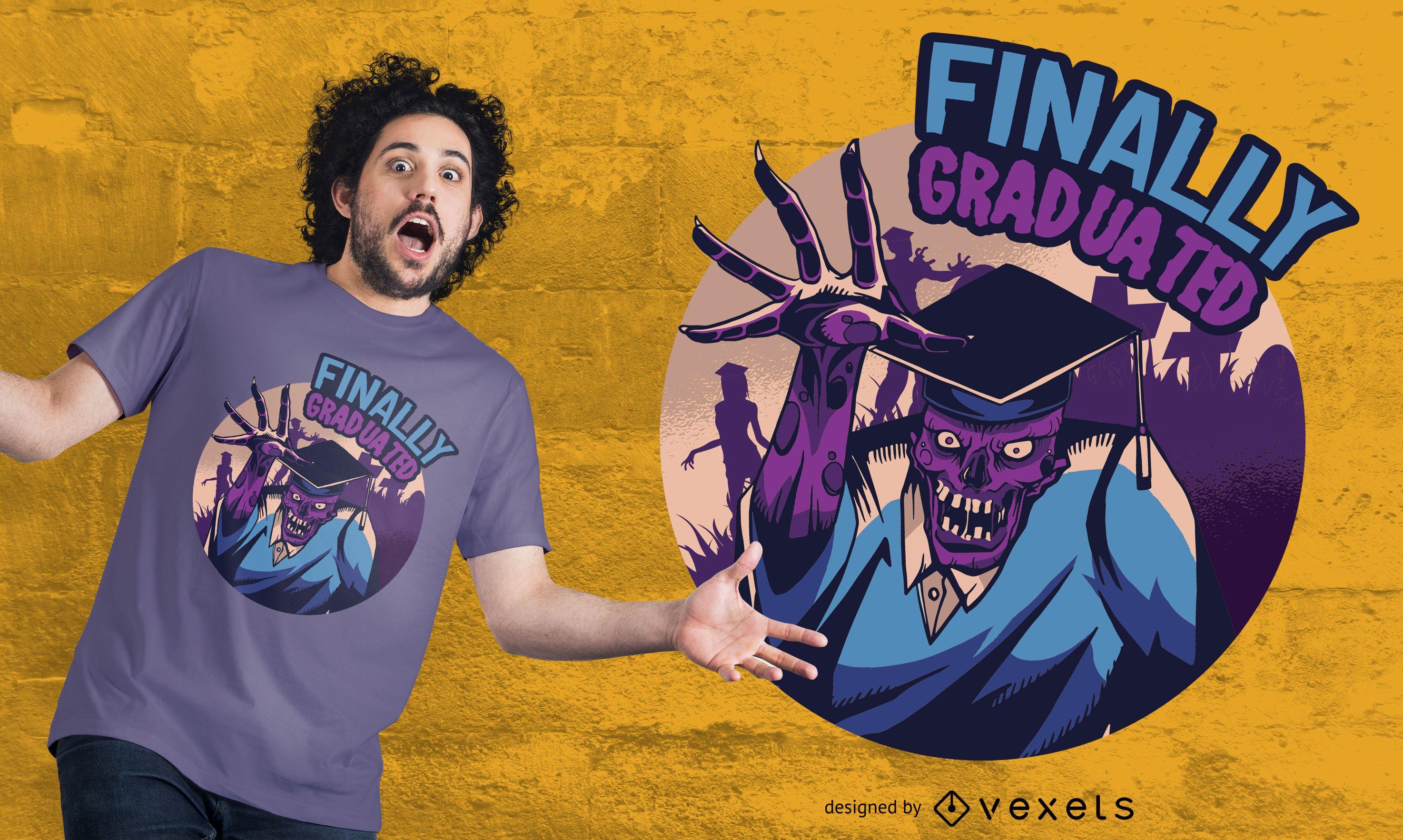 Design de camisetas finalmente graduado