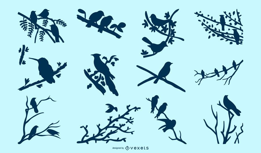 Birds on Tree Branches Silhouette Pack