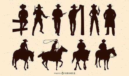 Pacote de silhueta de pessoas de vaqueiro
