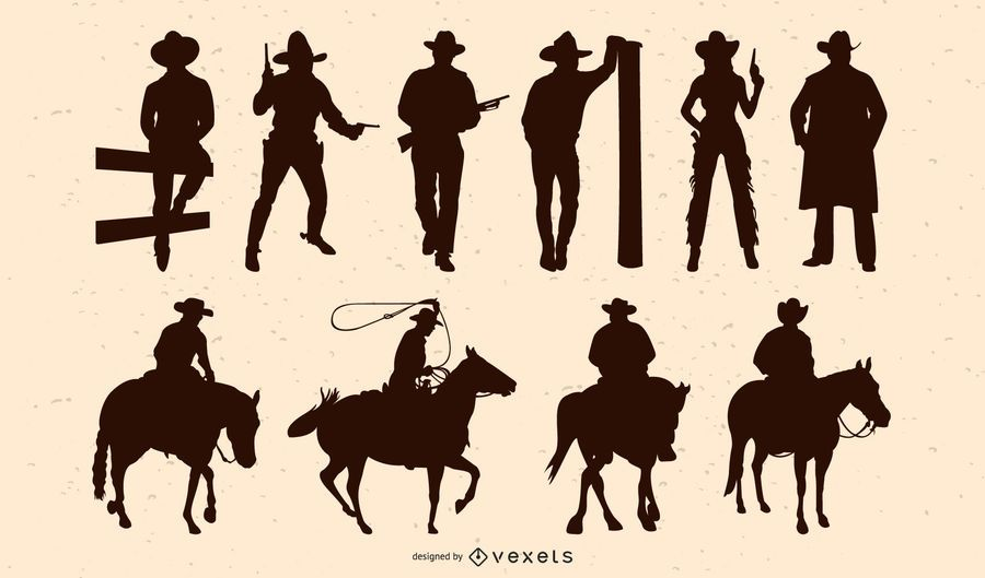Pack de silueta de vaquero