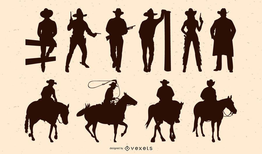 Paquete de silueta de personas de vaquero