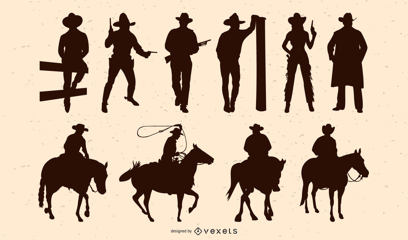 Cowboy People Silhouette Pack