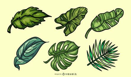 Handgezeichnete farbige tropische Blätter Pack