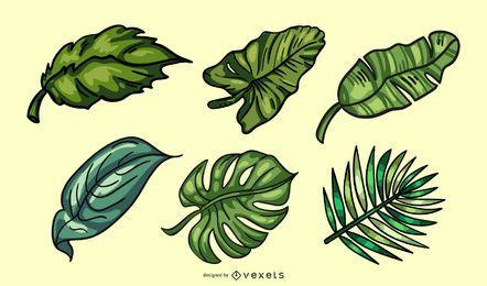 Paquete de hojas tropicales de colores dibujados a mano