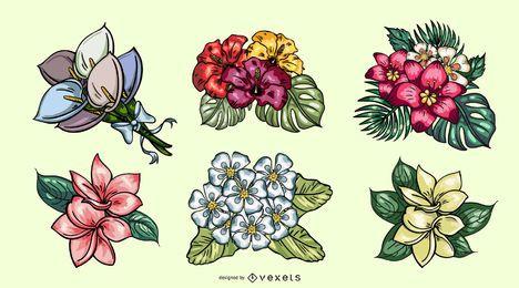 Hermosos ramos de flores tropicales dibujados a mano