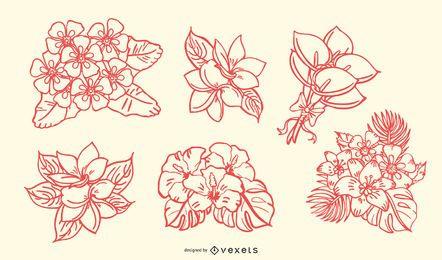 Conjunto de trazo de ramo floral tropical dibujado a mano
