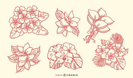 Handgezeichnete tropische Blumenstrauß Strichsatz