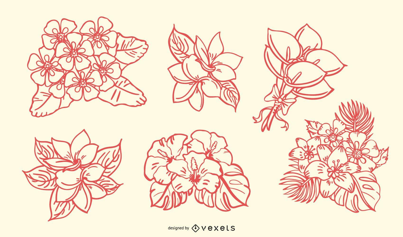 Conjunto de trazos de ramo floral tropical dibujado a mano