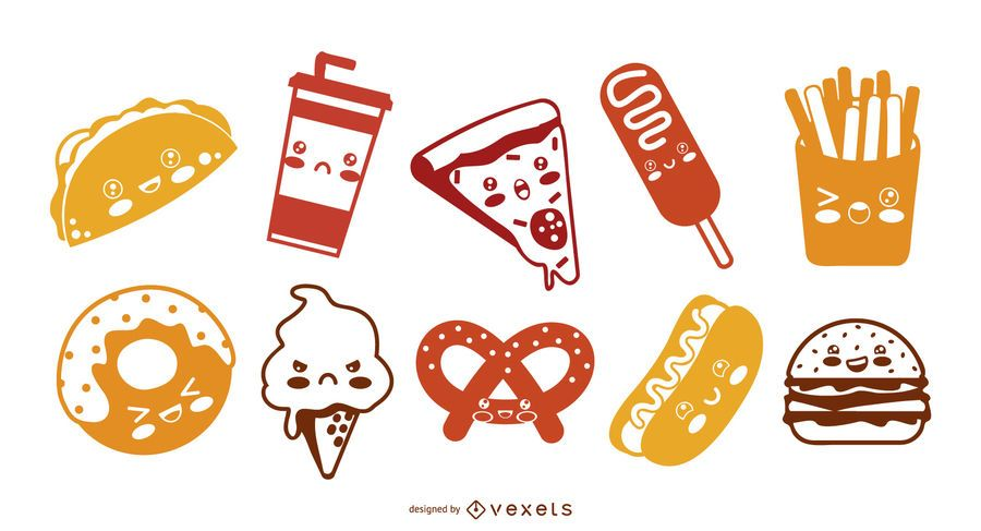 Paquete de silueta de iconos de comida rápida kawaii