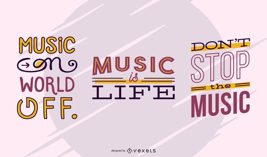Musik Schriftzug Banner Set