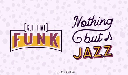 Music Funk Jazz Lettering Banner Set