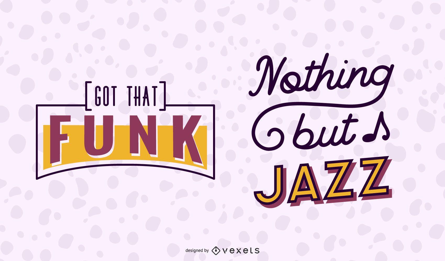 Music Funk Jazz Lettering Banner Set