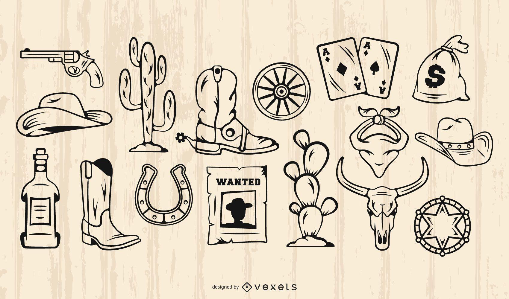 Conjunto de trazos de elementos de vaquero vintage