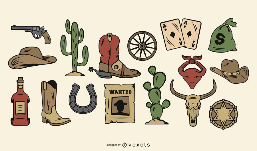 Conjunto de ícones de cores de vaqueiro vintage