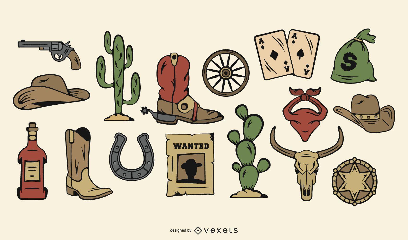 Conjunto de iconos de color de vaquero vintage