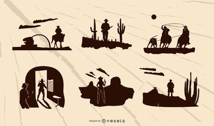 Westlicher Aufbau-Schattenbild-Set