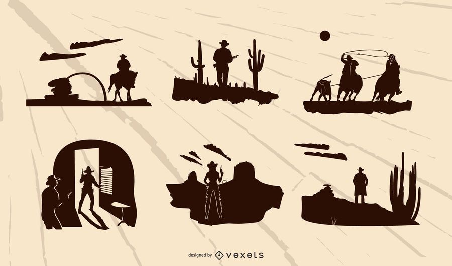 Western Composition Silhouette Set