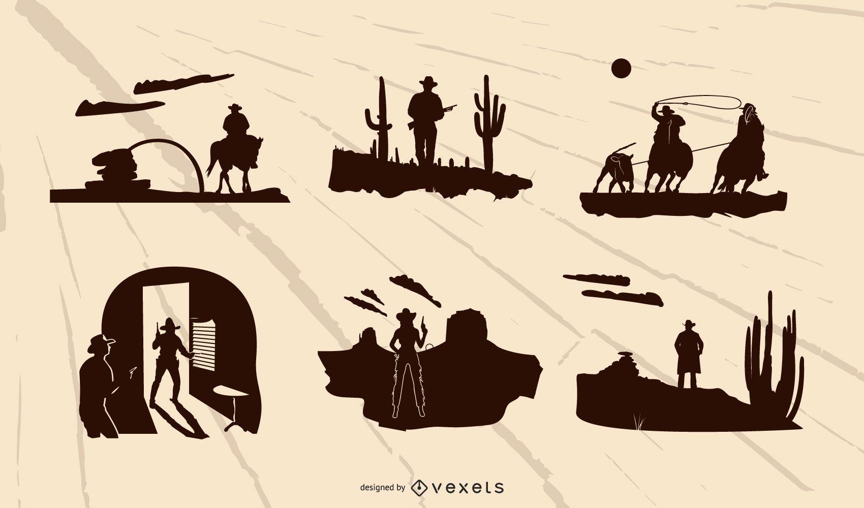 Conjunto de silueta de composición occidental