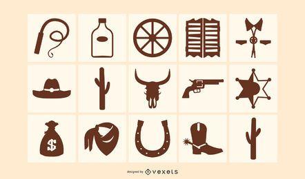 Pacote de ícones de silhueta de elementos ocidentais