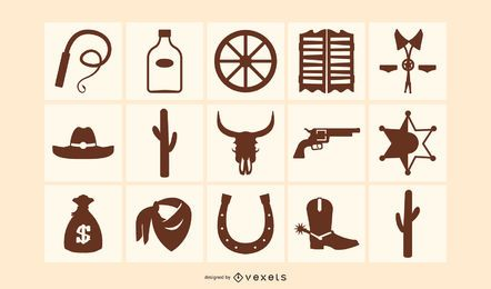 Western Elements Silhouette Icon Pack