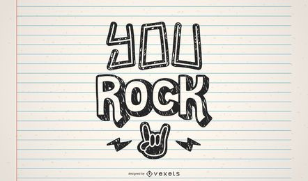 You rock lettering design