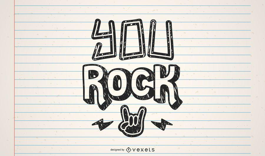 You rock lettering design