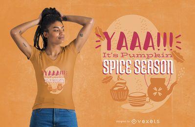 Diseño de camiseta de letras de calabaza especia