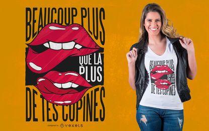 Projeto do t-shirt das citações do francês dos lábios