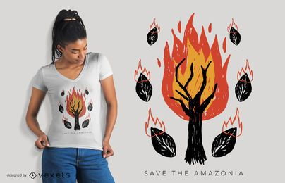 Diseño de camiseta Save The Amazonia